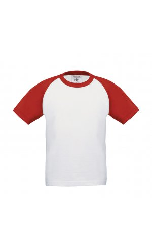 T-Shirt Base-Ball / Kids [White Red, 98/104]