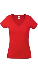 Lady-Fit V-Neck Valueweight, Fotl   [Rot, S]