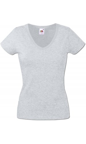 Lady-Fit V-Neck Valueweight, Fotl   [Graumeliert, XS]