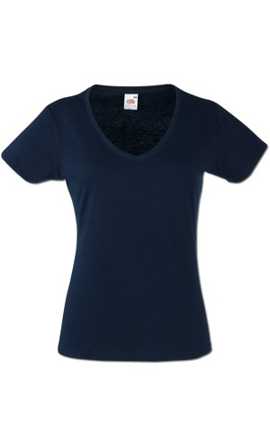 Lady-Fit V-Neck Valueweight, Fotl   [Deep Navy, XS]