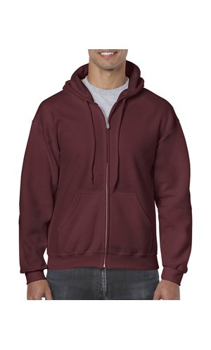 Heavy Blend Full Zip Hooded Sweatshirt [Maroon, 2XL]