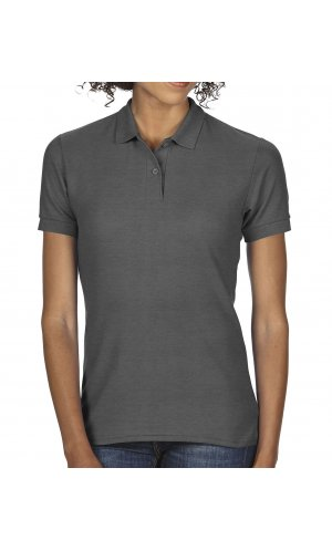 DryBlend Ladies Double Piqué Polo [Dark Heather, L]