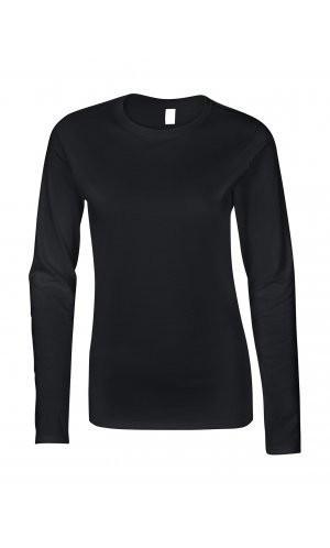 Softstyle® Ladies´ Long Sleeve T-Shirt [Black, M]