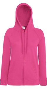 Lady Fit Lightweight Hooded Sweat Jacket [Fuchsia, M]