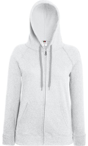 Lady Fit Lightweight Hooded Sweat Jacket [Graumeliert, XL]