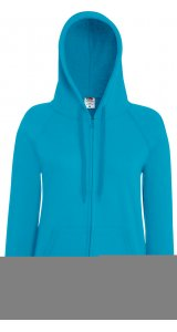 Lady Fit Lightweight Hooded Sweat Jacket [Azurblau, XS]