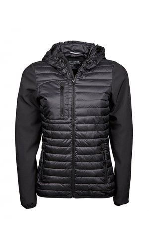 Ladies Hooded Crossover Jacket [Black Black, S]