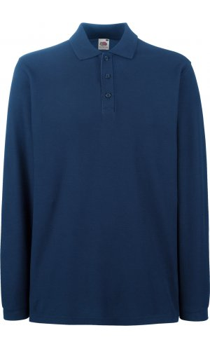 Premium Long Sleeve Polo [Navy, L]