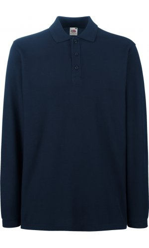 Premium Long Sleeve Polo [Deep Navy, L]