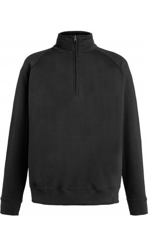 Lightweight Zip Neck Sweat [Schwarz, S]