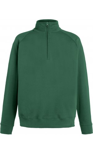 Lightweight Zip Neck Sweat [Flaschengrün, L]