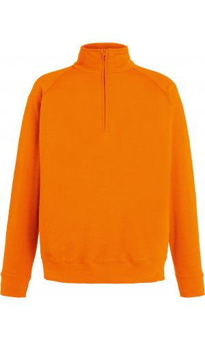 Lightweight Zip Neck Sweat [Orange, S]
