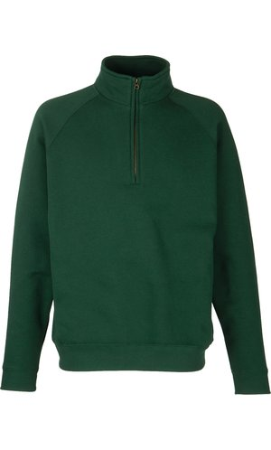 Premium Zip-Neck Sweat [Flaschengrün, L]