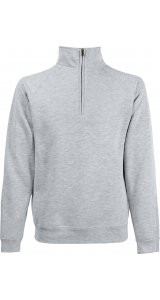 Premium Zip-Neck Sweat [Graumeliert, XL]