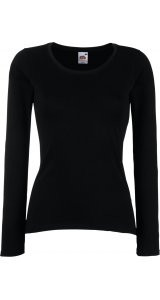 Lady-Fit Longsleeve Valueweight [Schwarz, M]
