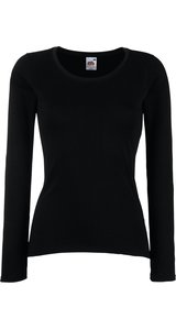 Lady-Fit Longsleeve Valueweight [Schwarz, S]