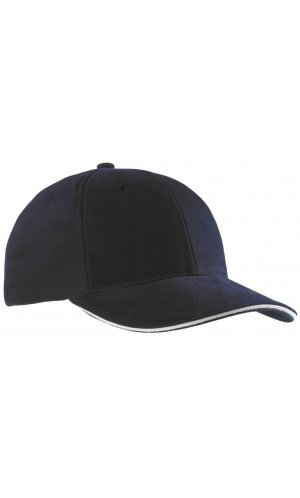 6 Panel Sandwich Cap [navy white, One-size]