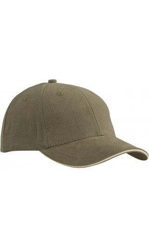 6 Panel Sandwich Cap [olive beige, One-size]