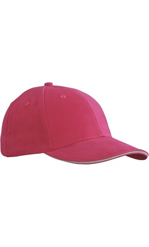 6 Panel Sandwich Cap [pink white, One-size]