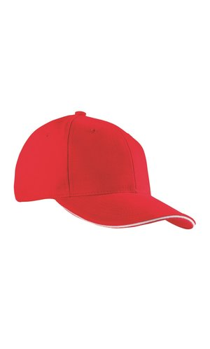 6 Panel Sandwich Cap [white red, One-size]