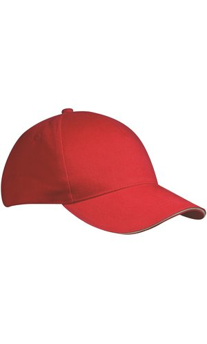 5 Panel Sandwich Cap [white red, One-size]