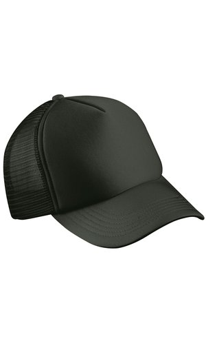 5 Panel Polyester Mesh Cap [black, One-size]
