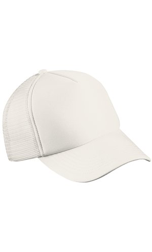 5 Panel Polyester Mesh Cap [white, One-size]