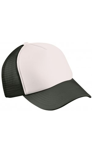 5 Panel Polyester Mesh Cap [white black, One-size]