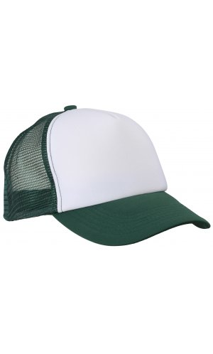 5 Panel Polyester Mesh Cap [white dark green, One-size]