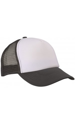 5 Panel Polyester Mesh Cap [graphite white, One-size]