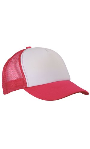 5 Panel Polyester Mesh Cap [white magenta, One-size]