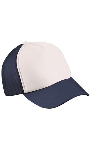 5 Panel Polyester Mesh Cap [white navy, One-size]