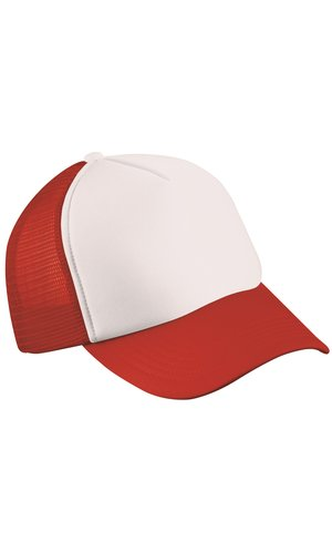 5 Panel Polyester Mesh Cap [white red, One-size]