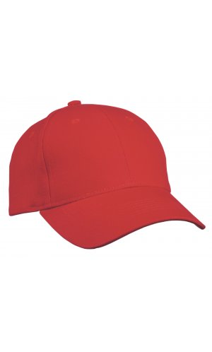 6 Panel Cap Heavy Cotton [red, One-size]