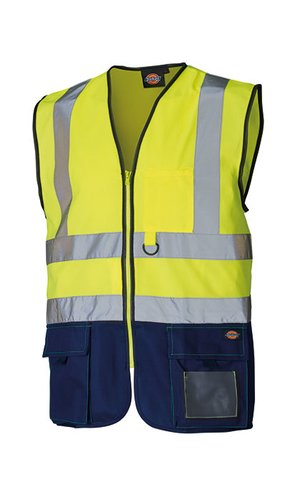 Two Tone High Visible Bodywarmer [Yellow Navy, S]