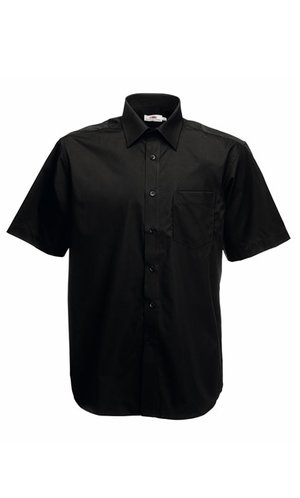 Men`s Short Sleeve Poplin Shirt [Black, S]