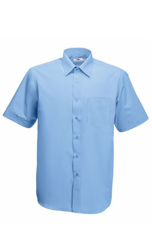 Men`s Short Sleeve Poplin Shirt [Mid Blue, M]