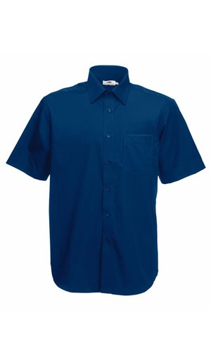 Men`s Short Sleeve Poplin Shirt [Navy, S]