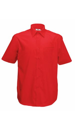 Men`s Short Sleeve Poplin Shirt [Red, S]