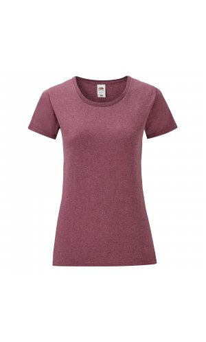Ladies Iconic T [Burgund meliert, L]