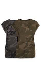 Ladies Camo Extended Shoulder Camo Tee