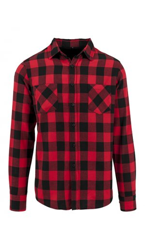 Checked Flannel Shirt [Black Red, S]
