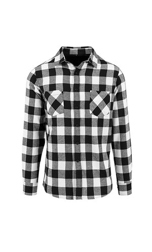 Checked Flannel Shirt [Black White, S]