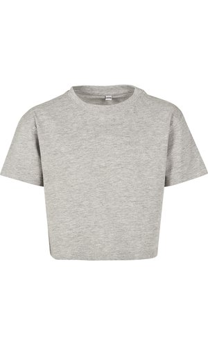 Girls Cropped Jersey Tee [Heather Grey, 110/116]