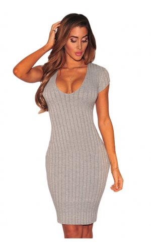 Ribbed Bodycon Juicy 17 [Grau, M]
