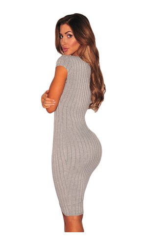 Ribbed Bodycon Juicy 20 [Grau, L]